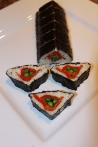 Asparagus, Roasted Pepper and Thai Basil Sushi Roll