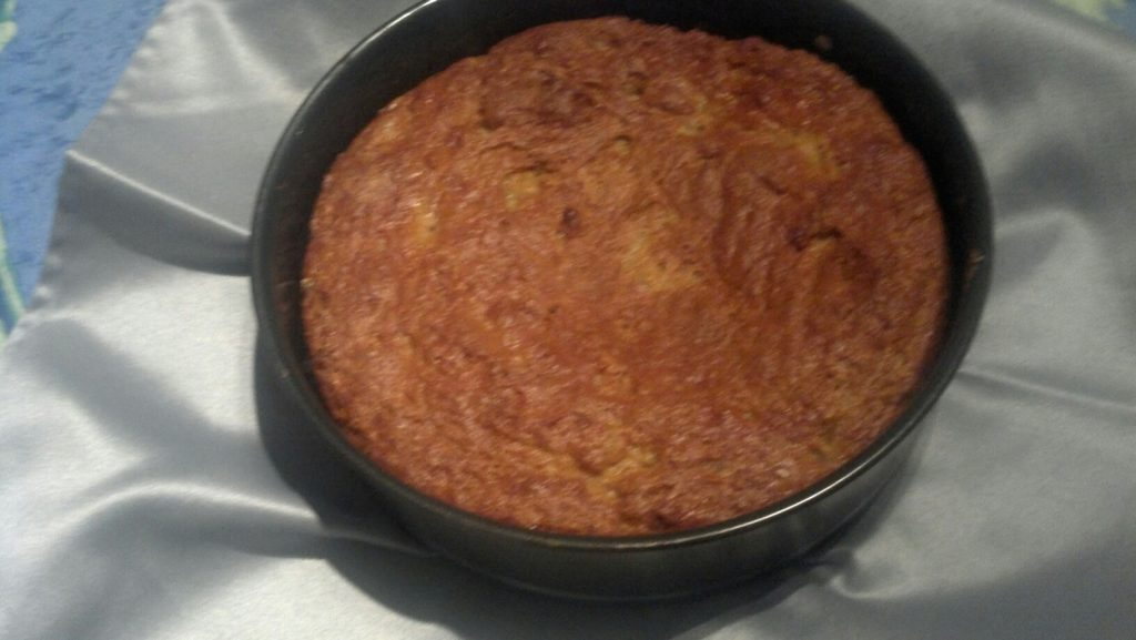 Pineapple Upsidedown Cake - right out of the oven & awaiting flipping, health, wellness, diet, dietitian, nutrition, nutritionist, michelle moreau, chef, healthy kitchen, healthcare, medical insurance, Portsmouth, NH, seacoast, celiac, cardiac, diabetes, diet, weight loss, recipe, counseling, healthcare, gluten free, dessert