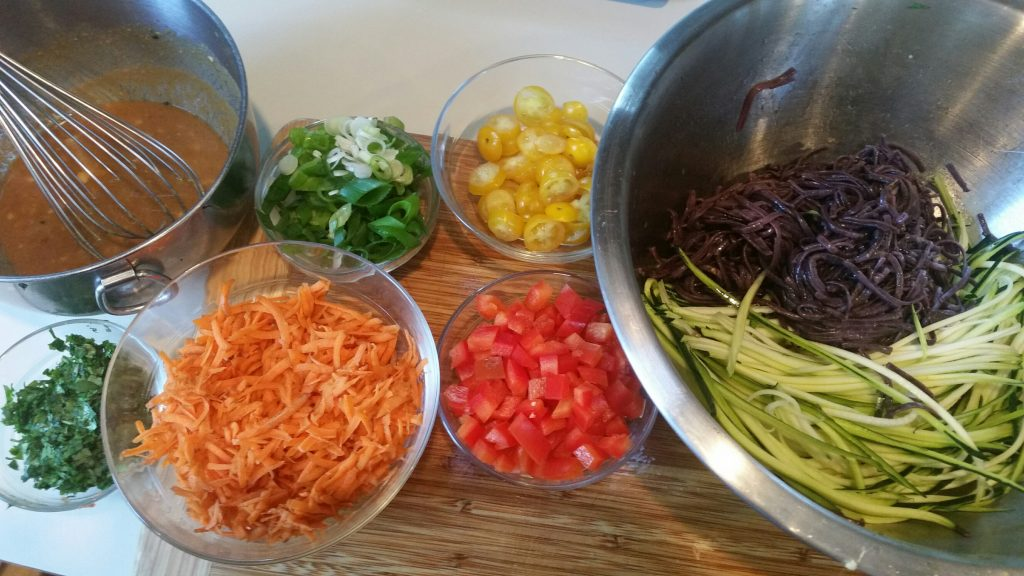 salad, vegetable, pasta, noodles, zucchini, zoodles, buckwheat, multiveggie, gluten, celiac, nutrition, health, wellness, diet, registered dietitian, michelle moreau, Portsmouth, NH, chef, healthcare, medical, diabetes, celiac, weight loss, multiveggie, fiber, rainbow, healthy kitchen, chef, recipe