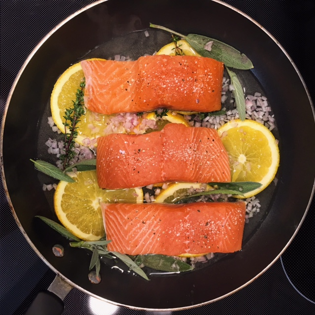 nutrition, dietitian, nutritionist, healthy kitchen, chef, health, wellness, salmon, dinner, entree, orange herbs, diet, fresh
